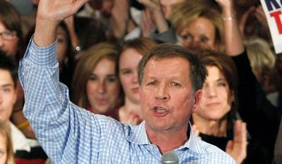 Ohio Republican gubernatorial candidate John R. Kasich addresses supporters on Friday in Lebanon, Ohio. Mr. Kasich is a former congressman.