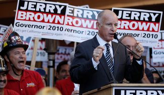 Associated Press California state Attorney General Jerry Brown campaigns Monday at Cafe Coyote in San Diego. Mr. Brown is running again for governor, an office he held previously from 1975 to 1983.