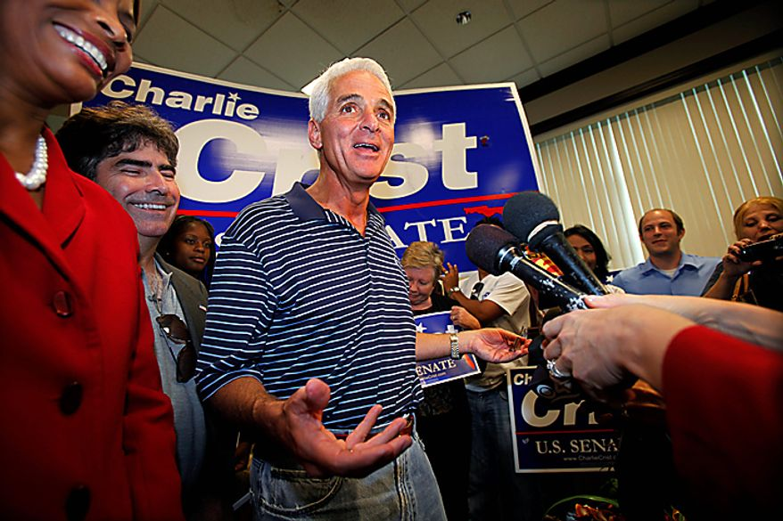 Charlie Crist, Independent candidate for U.S. Senate, speaks to members of the media during a campaign stop, Monday, Nov. 1, 2010 in Miami. (AP Photo/Wilfredo Lee)