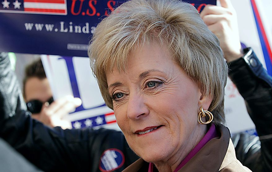 Connecticut Republican U.S. Senate candidate Linda McMahon listens to a question during a campaign stop at the University of Connecticut in Storrs, Monday, Nov. 1, 2010. (AP Photo/Charles Krupa)
