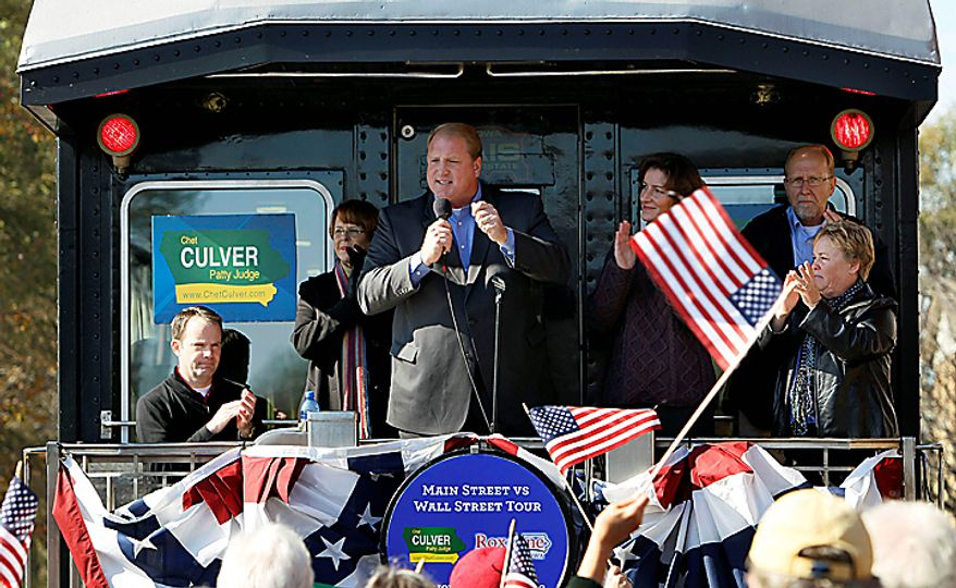 Iowa Gov. Chet Culver speaks during a stop on his campaign train tour, Monday, Nov. 1, 2010, in Iowa City, Iowa. (AP Photo/Charlie Neibergall)