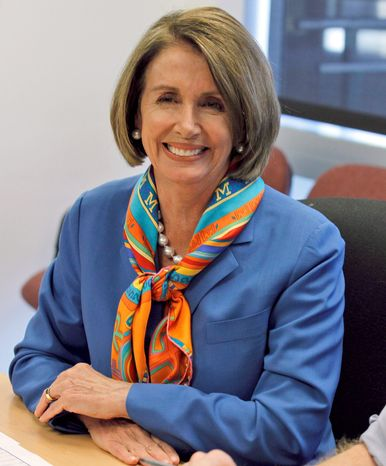 House Speaker Nancy Pelosi of Calif. smiles during a photo opportunity on election day, Tuesday, Nov. 2, 2010, at the Democratic Congressional Campaign Committee (DCCC) office in Washington. (AP Photo/Alex Brandon)