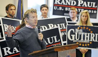 Republican candidate for U.S. Senate, Rand Paul, speaks to supporters during a campaign stop in Bowling Green, Ky., Monday, Nov. 1, 2010. (Associated Press)
