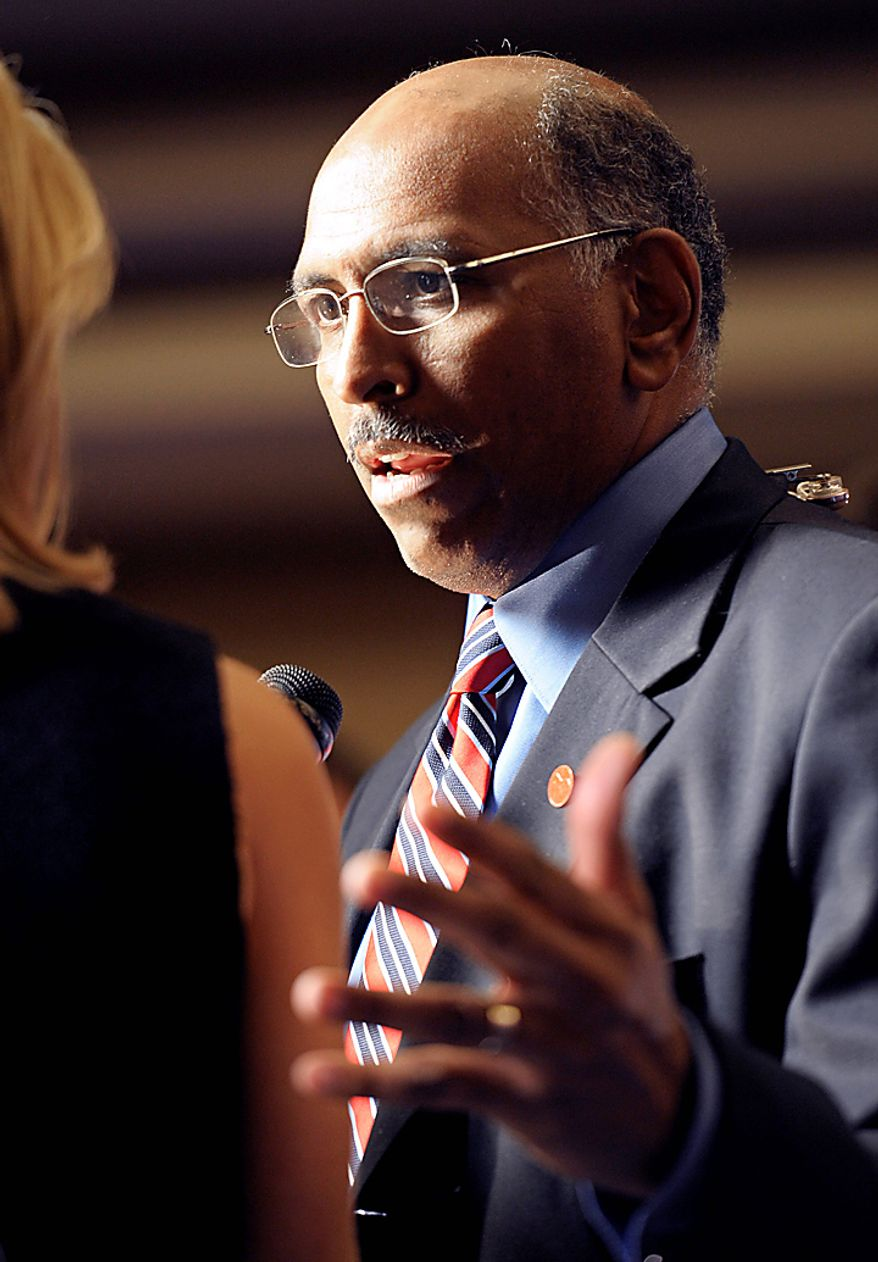 Republican National Committee Chairman Michael Steele speaks during an election night gathering hosted by the National Republican Congressional Committee, Tuesday, Nov. 2, 2010, in Washington. (AP Photo/Cliff Owen)