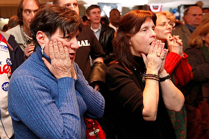 Nina Jones of West Chester, Pa., left, Connie McGuiness-Meyers of Springfield Pa., and other supporter of Pennsylvania Democratic Senate candidate, Rep. Joe Sestak, D-Pa., wait for returns to appear on a TV during an election night event in St. Davids, Pa., in St. Davids, Pa., Tuesday, Nov. 2, 2010. (AP Photo/Matt Rourke)