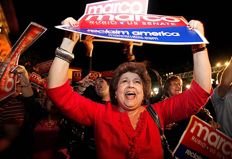 Supporters of Republican Senatorial candidate Marco Rubio, cheer as results are posted in Coral Gables, Fla., Tuesday Nov. 2, 2010. Rubio won the Florida Senate seat. (AP Photo/Lynne Sladky)