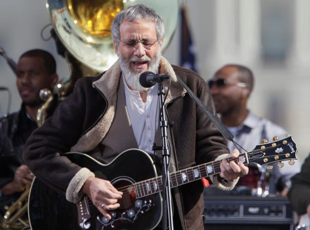 Yusuf Islam, formerly known as Cat Stevens, performs on the Mall Oct. 30 during Jon Stewart and Stephen Colbert's rally.