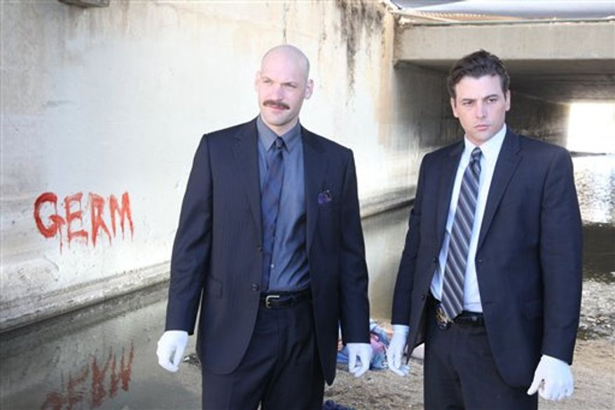 "In this undated publicity photo released by NBC, Corey Stoll, left, and Skeet Ulrich are shown in a scene from ""Law & Order: Los Angeles."" (AP Photo/NBC)"