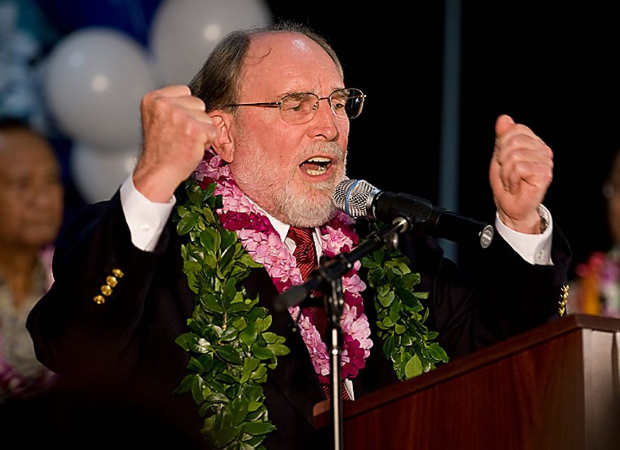 "Hawaii Governor Elect Neil Abercrombie addresses his supporters at a post election party Tuesday, Nov. 2, 2010 in Honolulu. The Democratic team of Neil Abercrombie and Brian Schatz defeated Republican Gubernatorial Candidate James ""Duke"" Aiona and Lynn Finnegan. (AP Photo/Eugene Tanner)"