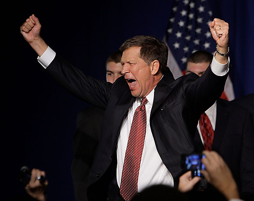 Ohio Republican Gov,-elect John Kasich celebrates at the Ohio Republican Party after his election win Wednesday, Nov. 3, 2010, in Columbus, Ohio. (AP Photo/Jay LaPrete)