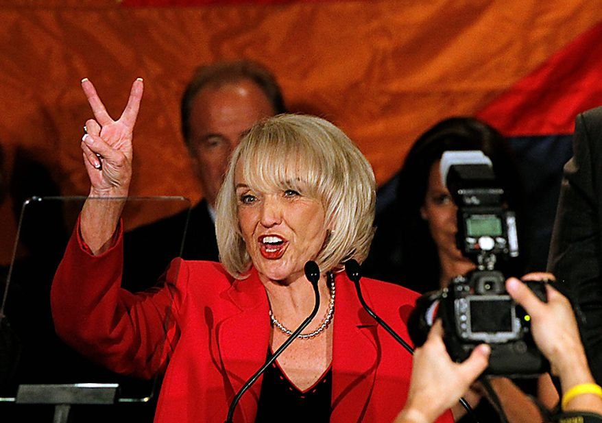 A victorious Arizona Gov. Jan Brewer speaks Tuesday, Nov. 2, 2010, at a Republican election night party in Phoenix. (AP Photo/Ross D. Franklin)
