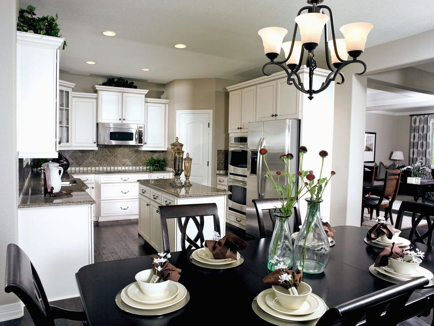 The Andrew model at Bryans Crossing is available with an optional center island in the kitchen, which is open to the breakfast area and family room. The model has 2,333 square feet and is priced from $319,990.
