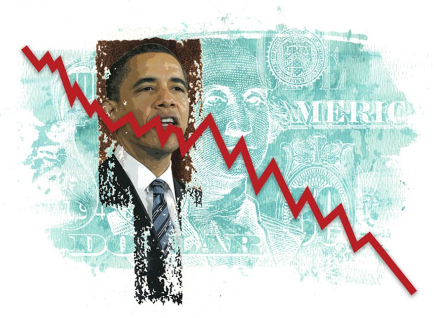 Illustration: Obama's economy by Greg Groesch for The Washington Times