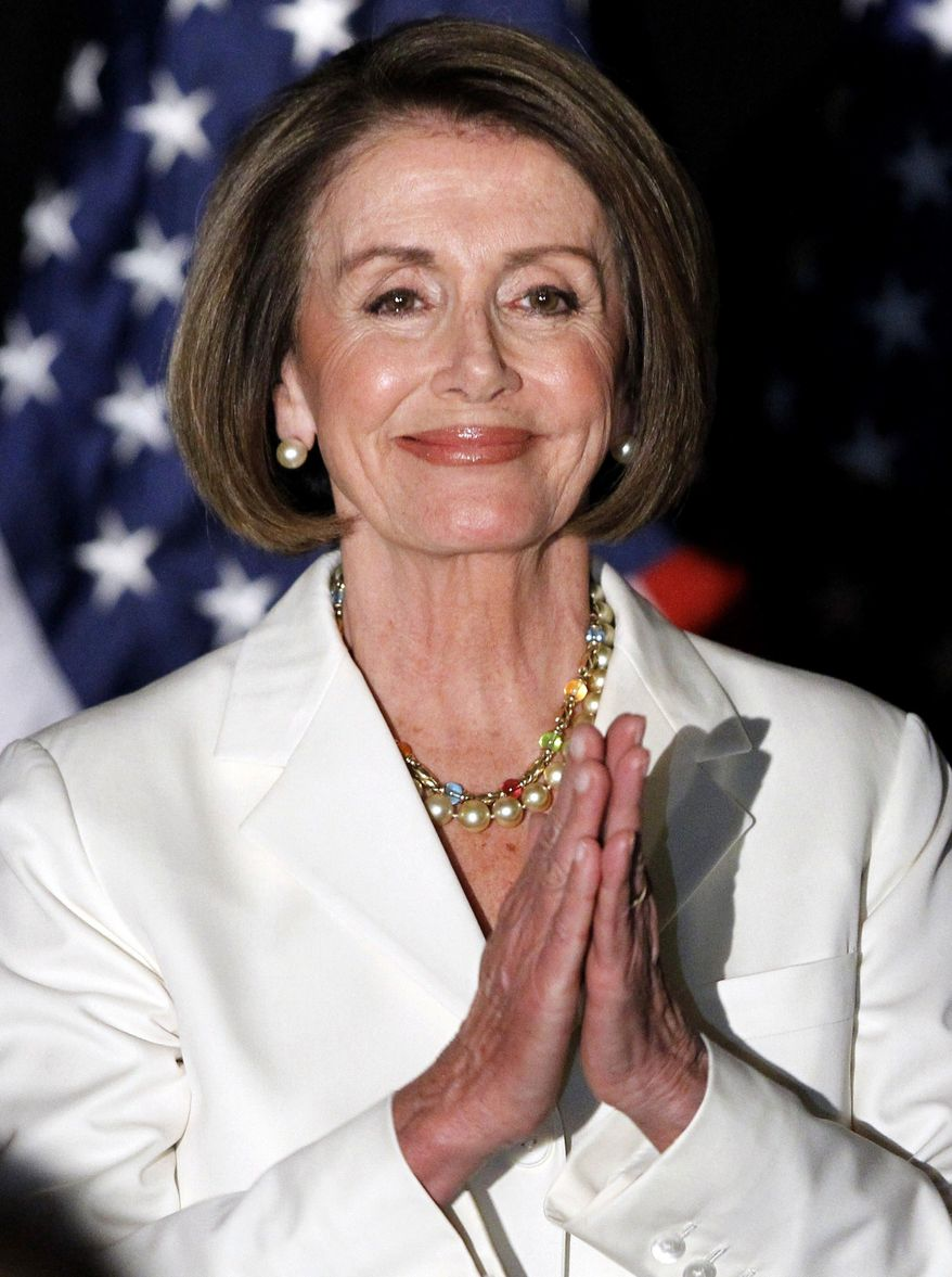 ** FILE ** In this Nov. 2, 2010, file photo, House Speaker Nancy Pelosi of California waits to speak in Washington. Pelosi says she will try to keep her Democratic leadership post despite massive election losses that cost her party the House majority. (AP Photo/Alex Brandon, File)