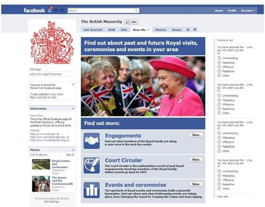 In this undated photo provided by Britain's Buckingham Palace Sunday, Nov. 7, 2010, Britain's Queen Elizabeth II's facebook page is seen. The 84-year-old British monarch will be featured in videos, photos and news items on the site, which will be available from Monday, alongside other members of the country's royal family, including Princes William and Harry. (AP Photo/Buckingham Palace, HO)  NO SALES