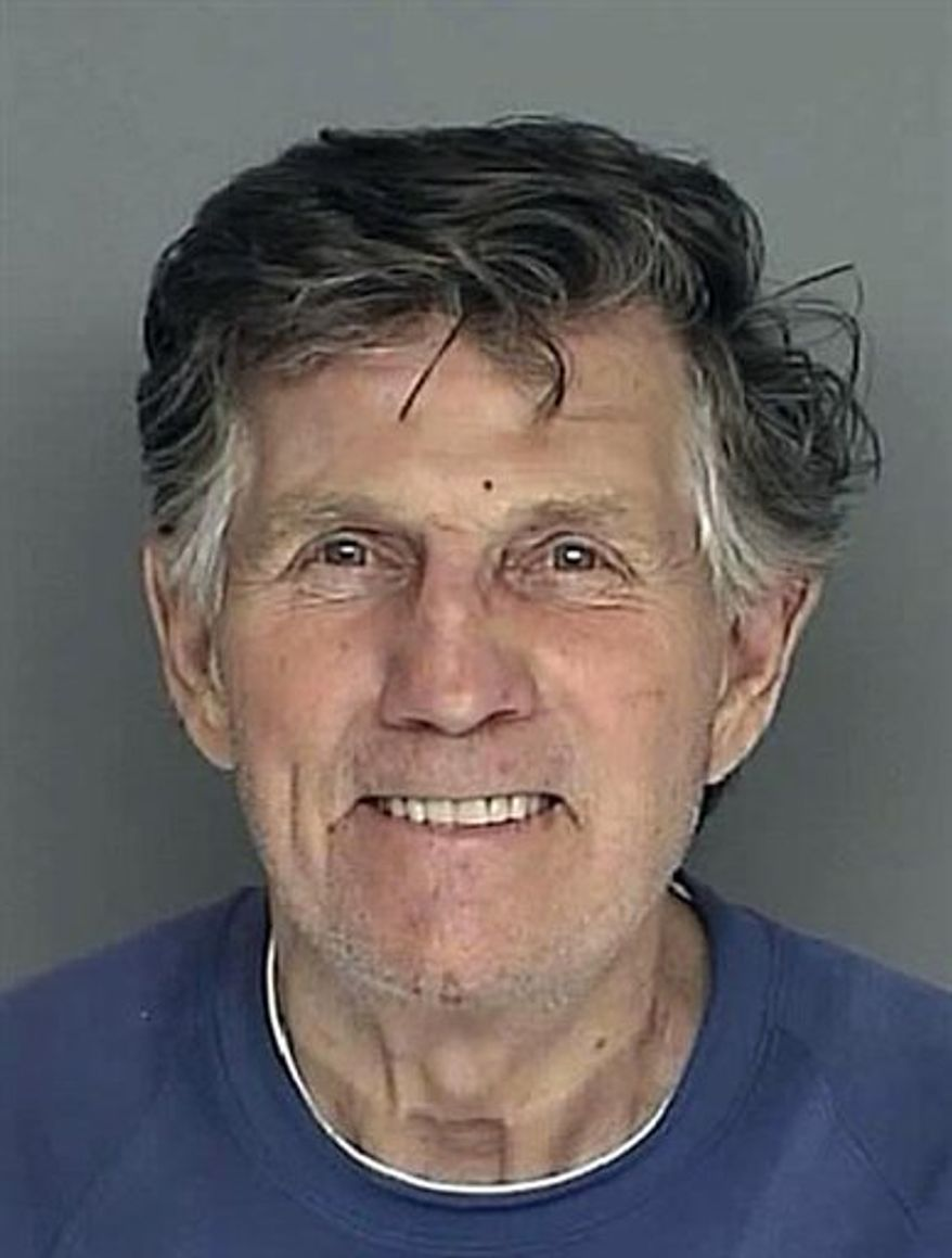 ** FILE ** This is a booking mug of television personality Gary Collins of Beverly Hills, Calif., provided by the Biloxi, Miss., Police Department and taken Tuesday, Jan. 4, 2011, after Collins was charged with defrauding an innkeeper of $59.35 after leaving a Biloxi restaurant and refusing to pay the tab. According to Mississippi law, refusing to pay a restaurant bill of more than $25 is a felony. (AP Photo/Biloxi Police Department)