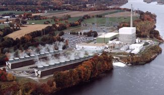 Undated file photo of the Vermont Yankee nuclear power plant in Vernon, Vt. The Vermont Yankee nuclear plant began an unscheduled shutdown Sunday evening, Nov. 7, 2010, so workers could fix a leak where radioactive water was seeping into the complex. (AP Photo/Vermont Yankee Corporation, File)