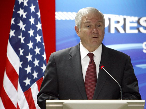 Defense Secretary Robert Gates speaks during a joint press conference at Malaysia's Ministry of Defense in Kuala Lumpu