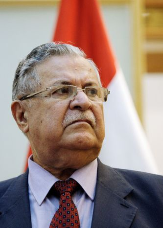 Iraqi President Jalal Talabani rejected a request by President Obama to give up his post in the new government. (Associated Press)