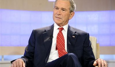 "In a Nov. 10, 2010 photo provided by NBC Universal, Inc., former U.S. President George W. Bush appears on the ""Today"" show to talk about his new book ""Decision Points"" . (AP Photo/NBC Universal, Inc., Peter Kramer)"