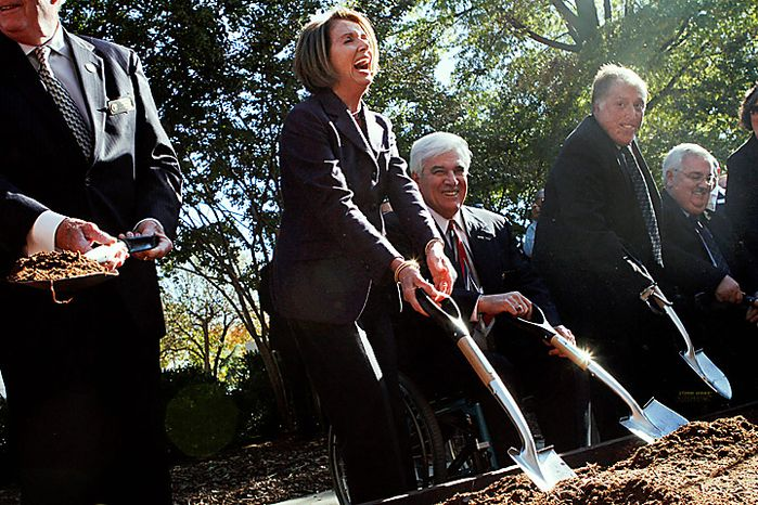House Speaker Nancy Pelosi if Calif., center, laughs during the groundbreaking ceremony for the American Veterans Disabled for Life Memorial, Wednesday, Nov. 10, 2010, in Washington.   (AP Photo/Jacquelyn Martin)
