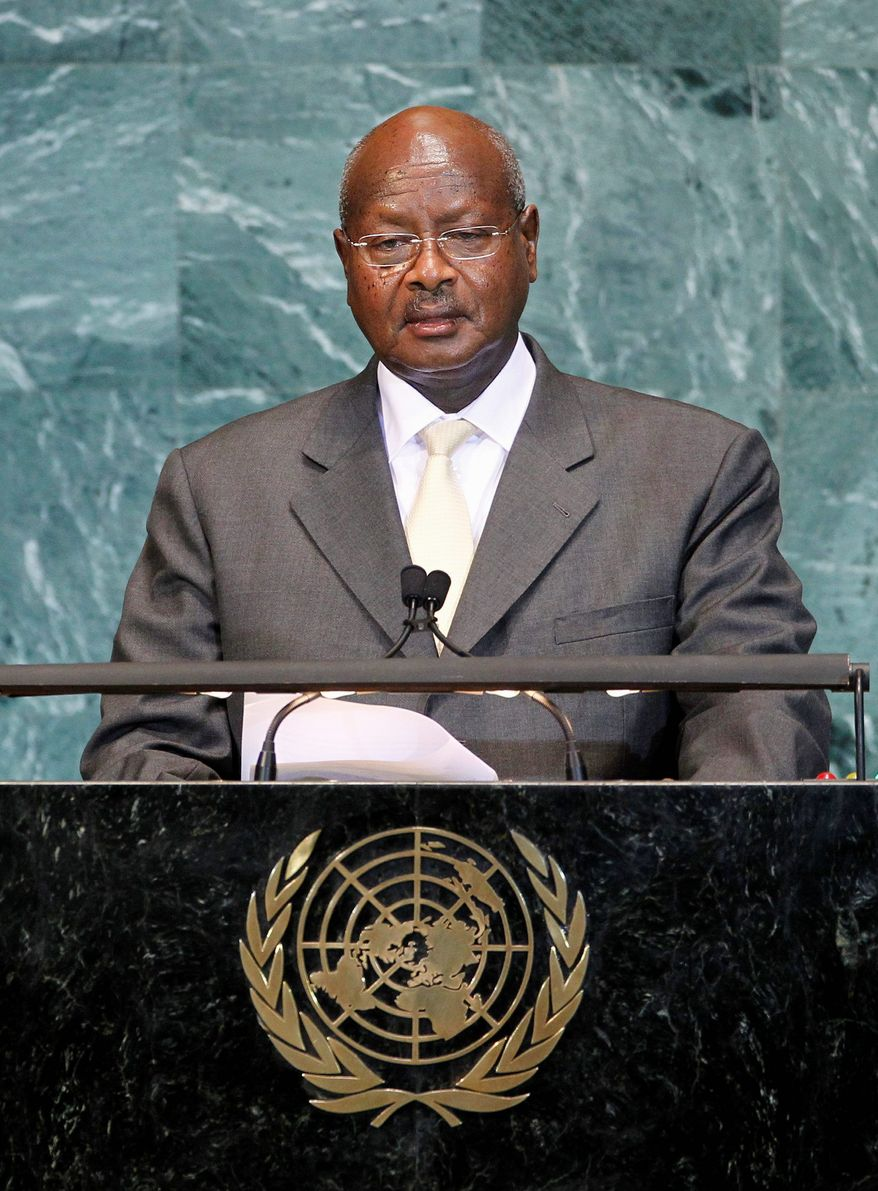 Ugandan President Yoweri Kaguta Museveni addresses the U.N. General Assembly Sept. 24. He wants peacekeeping in Somalia to become peace enforcement. (Associated Press)