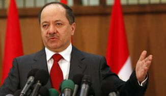 President of the Kurdistan Regional Government Massoud Barzani (Associated Press) **FILE**
