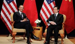 President Barack Obama meets with China's President Hu Jintao on the sidelines of the G-20 summit in Seoul, South Korea, Thursday, Nov. 11, 2010. (AP Photo/Charles Dharapak)