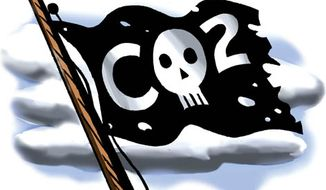 Illustration: CO2 by Alexander Hunter for The Washington Times