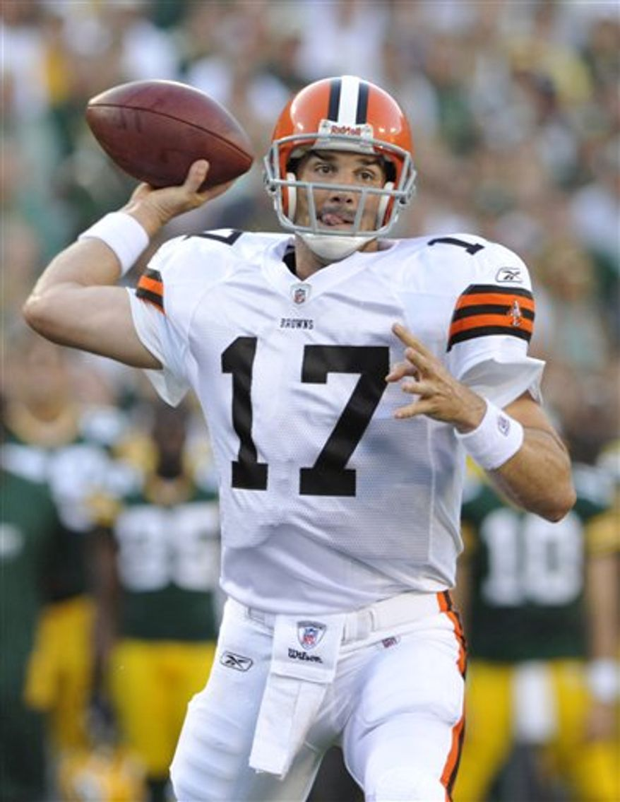 FILE - In this Aug. 14, 2010, file photo, Cleveland Browns quarterback Jake Delhomme throws during the first half of a preseason NFL football game in Green Bay, Wis. Delhomme returned to practice Thursday, Nov. 11, 2010, for the first time since re-injuring his ankle on Oct. 10. (AP Photo/Jim Prisching, File)