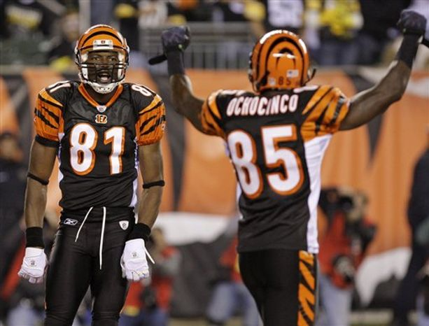 Pittsburgh Steelers quarterback Ben Roethlisberger, left, talks with Cincinnati Bengals quarterback Carson Palmer after the Steelers defeated the Bengals 27-21 in an NFL football game, Monday, Nov. 8, 2010, in Cincinnati. (AP Photo/David Kohl)