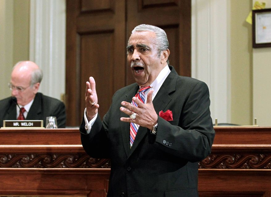 Rep. Charles B. Rangel, New York Democrat, makes an impassioned plea on his own behalf before the House Standards of Official Conduct Committee on Monday. (Associated Press)