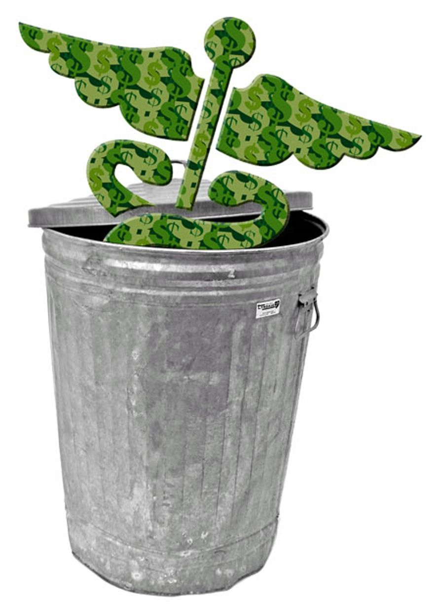 Illustration: Trash Obamacare by Greg Groesch for The Washington Times