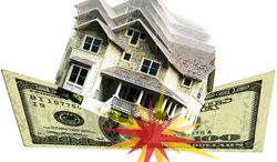 Illustration: Housing crash by Greg Groesch for The Washington Times