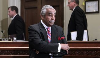 Rep. Charlie Rangel, New York Democrat, is seen on Capitol Hill in Washington, Monday, Nov. 15, 2010, before the start of the House Committee on Standards of Official Conduct hearing, where as he faces 13 separate counts of violating House ethics rules. (AP Photo/J. Scott Applewhite)