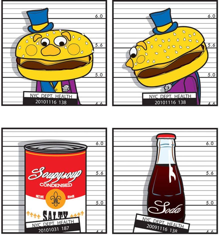 Illustration: Food criminals by Linas Garsys for The Washington Times
