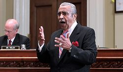 ** FILE ** Rep. Charlie Rangel, D-N.Y. speaks on Capitol Hill in Washington, Monday, Nov. 15, 2010, during the House Committee on Standards of Official Conduct hearing as he faces charges of violating House ethics rules. (AP Photo/J. Scott Applewhite)