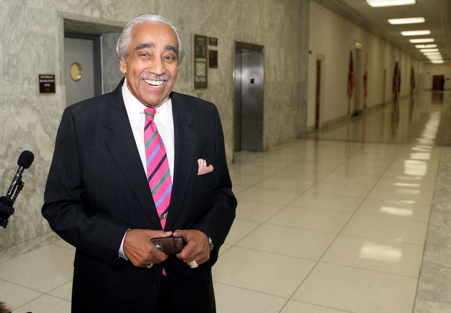 Rep. Charles B. Rangel of New York stays upbeat Tuesday. He was found guilty on 11 of 13 charges considered by a House ethics subcommittee. He did not cooperate with a hearing on failure to report income, improper use of an apartment for campaigning and other allegations.