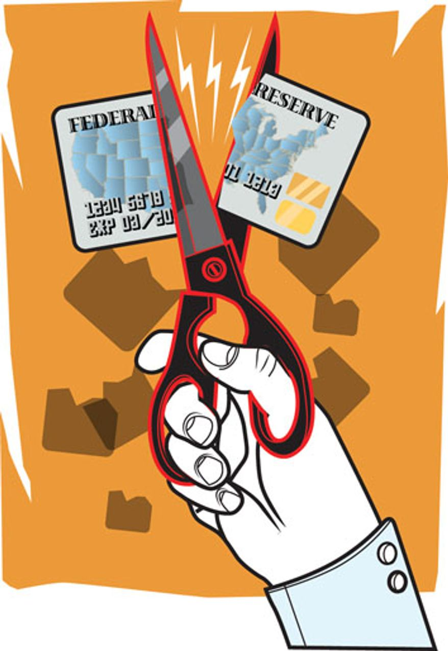 Illustration: Cutting the credit card by Linas Garsys for The Washington Times
