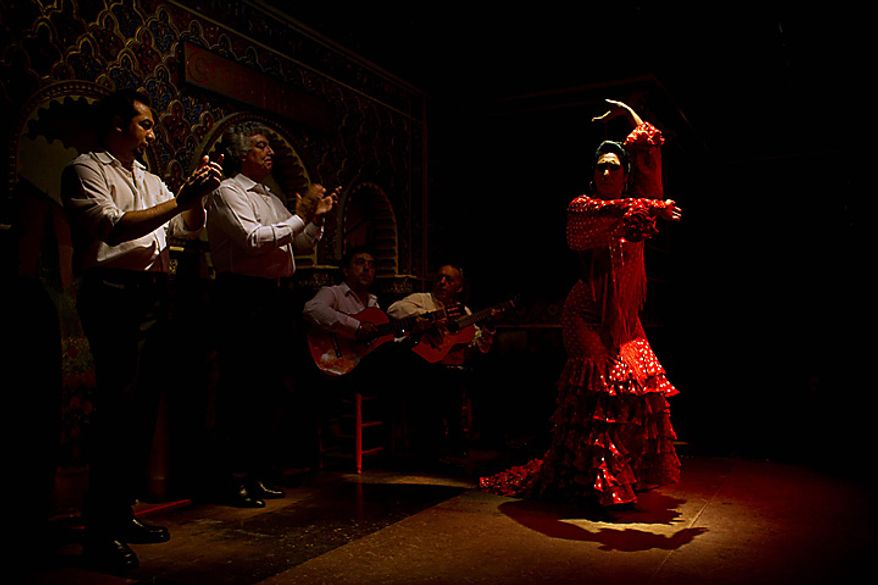 In this photo taken on Monday, Nov. 15, 2010, flamenco dancer Teresa Manzano  performs in the renowned Torres Bermejas Tablao Restaurant in Madrid. Spain's flamenco dance is among 51 proposals to be considered for inclusion on two UNESCO intangible cultural heritage lists. The Paris-based U.N. organization said that Tuesday Nov. 16 meeting in Nairobi, Kenya, will determine which of the proposals make the final cut. Thirty-one countries on four continents fielded proposals.  (AP Photo/Victor R. Caivano)
