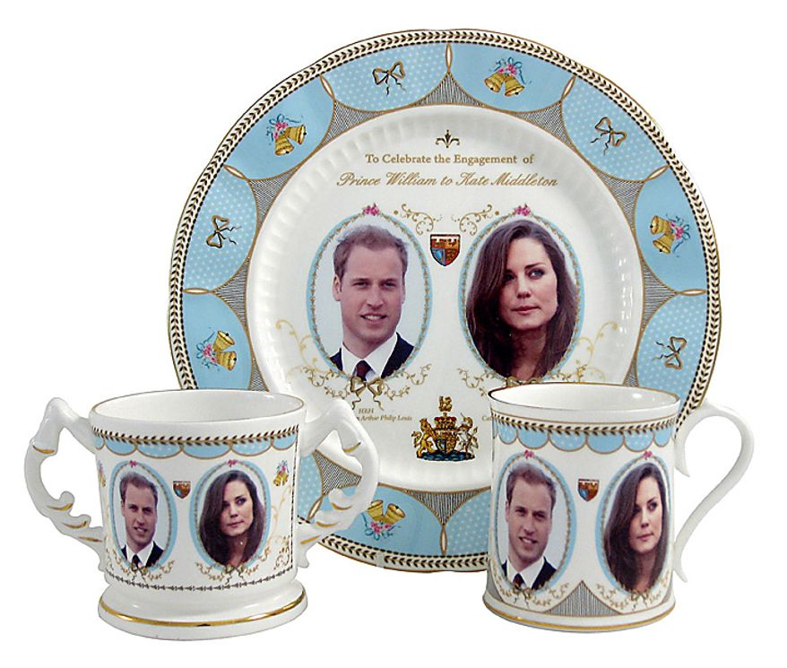 This image made available in London by Aynsley China shows one of a series of designs for a new range of china pieces which went into production Tuesday Nov. 16, 2010, following the announcement of Prince William and Kate Middleton's engagement. Royal officials announced that Prince William, who is second in line to the throne, and Kate Middleton will marry next spring or summer in London.(AP Photo/Aynsley China, ho)