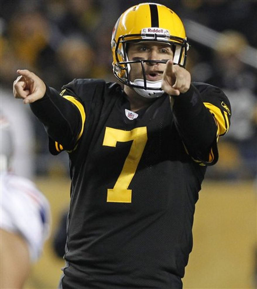 FILE - This Nov. 15, 2010, file photo shows Pittsburgh Steelers quarterback Ben Roethlisberger (7) directing play durin g an NFL football game against the New England Patriots, in Pittsburgh. Roethlisberger played well enough to take the Steelers to two Super Bowls. What he's never tried to be is a locker-room leader. (AP Photo/Keith Srakocic, File)