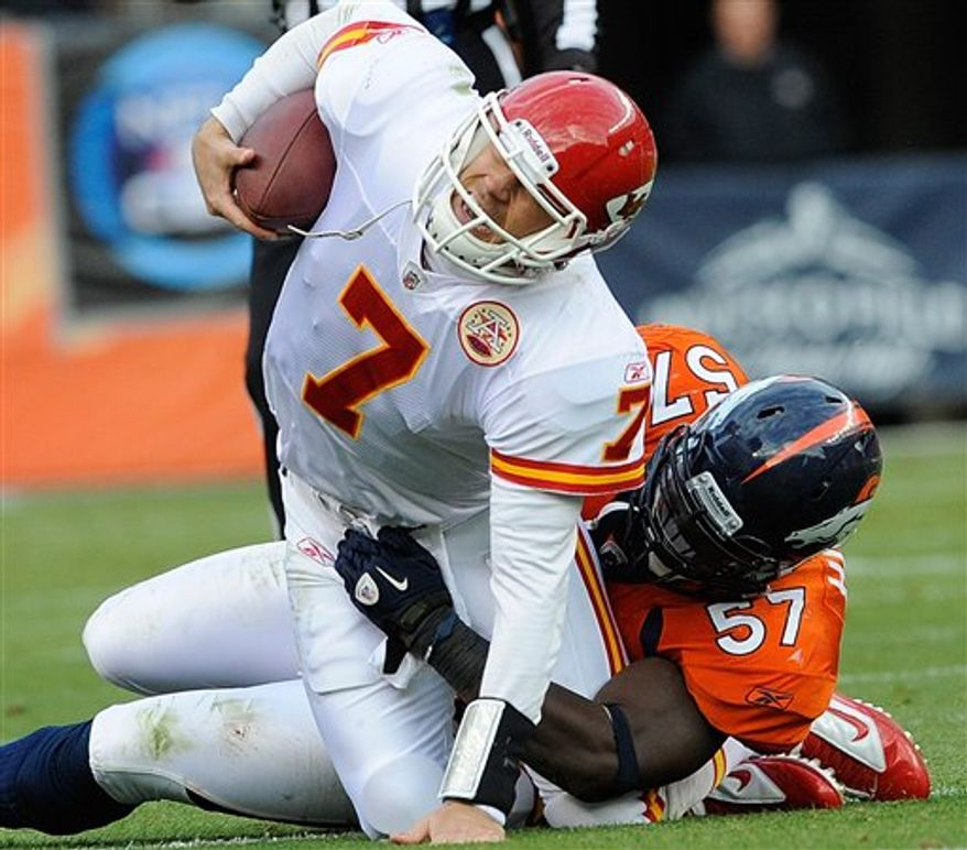 Denver Broncos running back Knowshon Moreno (27) jumps into the arms of offensive tackle Ryan Harris after scoring a touchdown on a 17-yard pass-reception during the first quarter of an NFL football game against the Kansas City Chiefs, Sunday, Nov. 14, 2010, in Denver. (AP Photo/ Ed Andrieski)