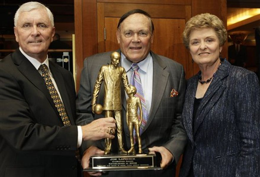 From left, University of Texas women's basketball coach Jody Conradt, former Purdue men's basketball coach Gene Keady and St. Anthony's of New Jersey boys basketball coach Bob Hurley Sr. pose with the Lapchick Character Award  trophy as the trio were honored at Madison Square Garden in New York, Thursday, Nov. 18, 2010.  The award honors college basketball coaches for their exemplary character and for their coaching ability.  (AP Photo/Kathy Willens)