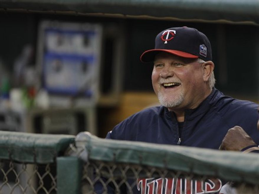 FILE - This Sept. 24, 2010, file photo shows Minnesota Twins manager Ron Gardenhire in the first inning of a baseball game against the Detroit Tigers, in Detroit. Gardenhire won the AL Manager of the Year award Wednesday, Nov. 17, 2010. (AP Photo/Paul Sancya)