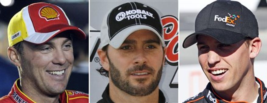 FILE - From left are 2010, file photos showing NASCAR's three title contenders from left, Kevin Harvick, Jimmie Johnson and Denny Hamlin. The season finale is Sunday, Nov. 21 at Homestead-Miami Speedway. (AP Photo/File)