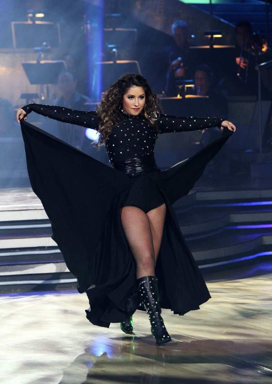 """In this publicity image released by ABC, Bristol Palin performs during the celebrity dance competition series, """"Dancing with the Stars,"""" on Monday, Nov. 15, 2010, in Los Angeles. (AP Photo/ABC, Adam Larkey)"""