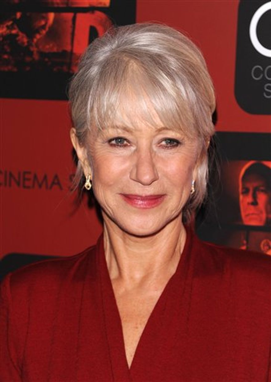 "FILE - In this Oct. 3, 2010 file photo, actress Helen Mirren attends a Cinema Society screening of ""Red"" at Museum of Modern Art, in New York. (AP Photo/Peter Kramer, file)"