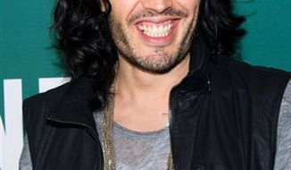 "FILE - In this Oct. 13, 2010 file photo, actor Russell Brand appears at a book signing for his memoir ""My Booky Wook 2"" at Barnes & Noble in New York. (AP Photo/Charles Sykes, file)"