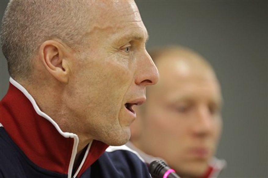 Coach Bob Bradley from the United States soccer team speaks at a press conference before their training session in the city of Cape Town, South Africa, Tuesday, Nov. 16, 2010. The United States soccer team will play Bafana Bafana from South Africa on Wednesday.  (AP Photo/Schalk van Zuydam)